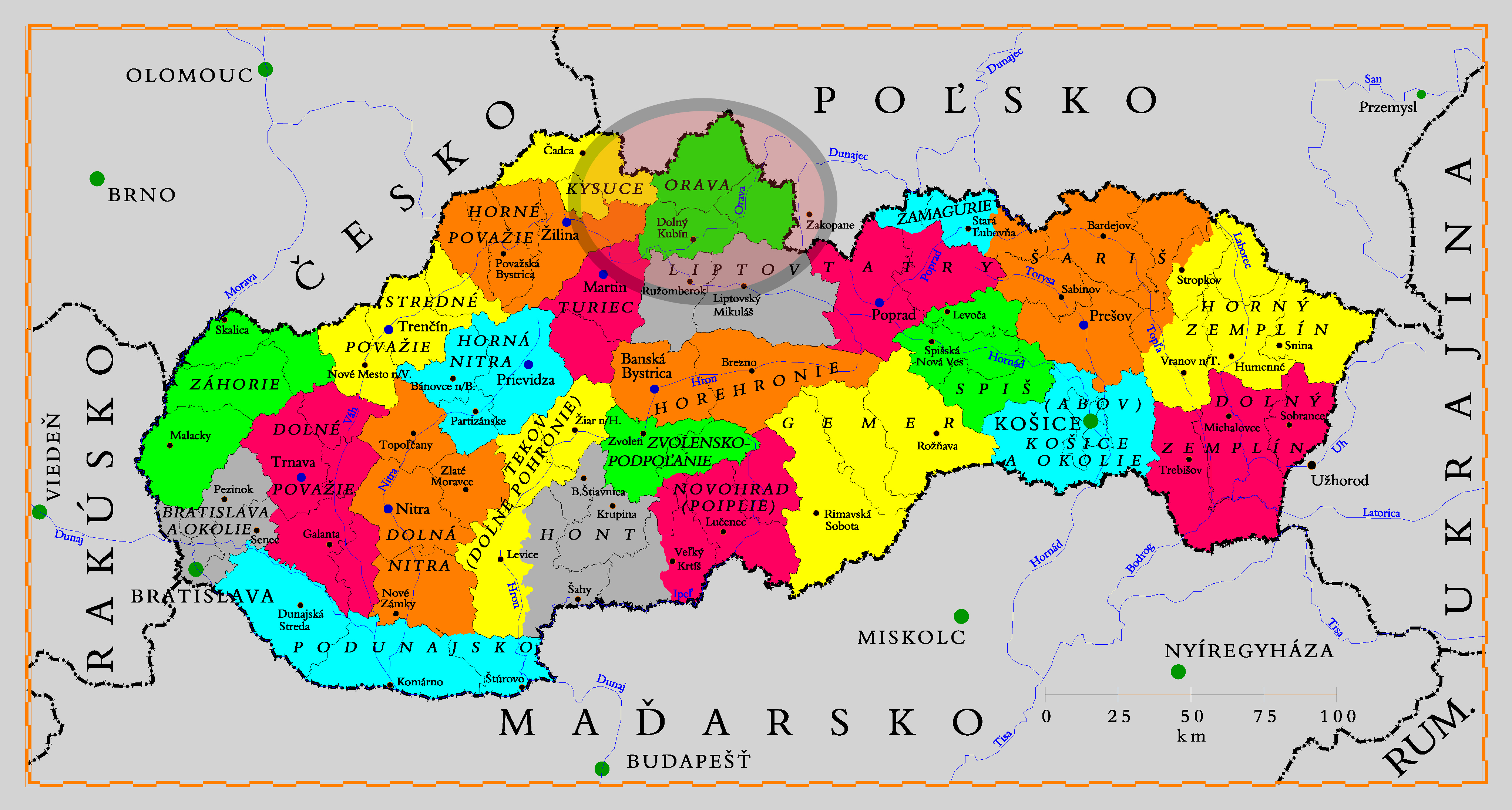 mapa regiónov orava